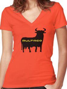 Bultaco Bull Women's Fitted V-Neck T-Shirt