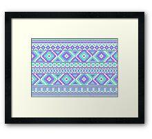 Tribal pattern purple and mint Framed Print