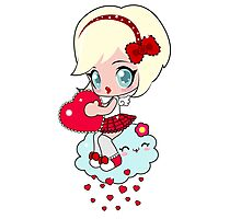 Cute girl with heart Photographic Print