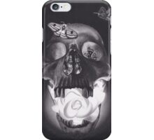Surreal Charcoal Drawing of Glowing Skull with Rose and Moths iPhone Case/Skin