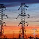 Electrical Towers with Colorful Sky by John Kroetch