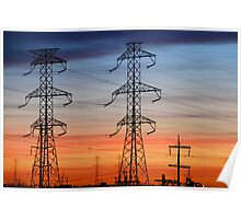 Electrical Towers with Colorful Sky Poster