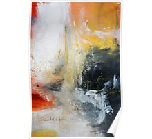 Orange Black Abstract Print  Poster