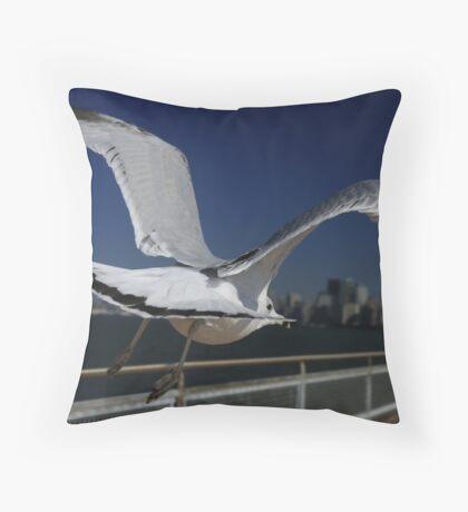 Flight to Manhattan Throw Pillow