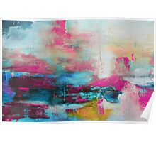 Aqua Pink Abstract Print from Original Painting  Poster