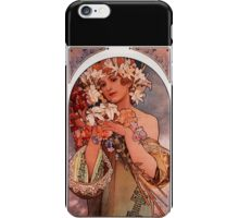 'Flowers' by Alphonse Mucha (Reproduction) iPhone Case/Skin