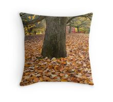 Tree With Leaves in Autumn. Throw Pillow