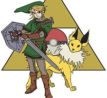Link and Jolteon by kaylakirkendall