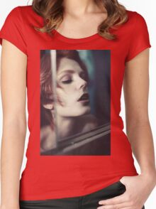 Echo Fashion - fashion portrait beautiful perfect proud woman cute girl vintage red Women's Fitted Scoop T-Shirt