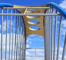 Blue and White Steel Bridge by rhamm