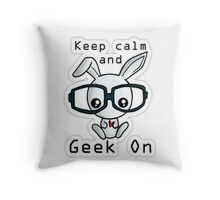 Geek Bunny Throw Pillow