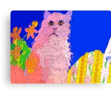 Pink cat on a patio table Canvas Print