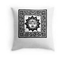 Sun God Linocut - Card Throw Pillow