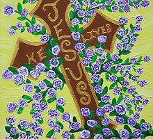 Jesus, He Lives!  Cross for Easter, baptism, first communion  by VJMaheu