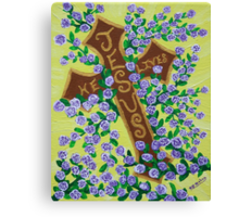 Jesus, He Lives!  Cross for Easter, baptism, first communion  Canvas Print