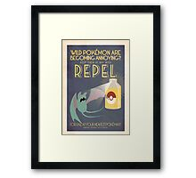 Pokemon Repel ad Framed Print