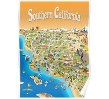 Sunny Cartoon Map of Southern California Poster