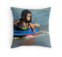 Little Ms Surfer © Throw Pillow