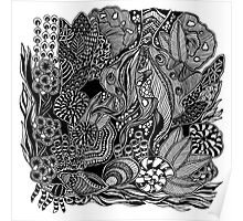 Under The Sea #3 black and white doodle art Poster