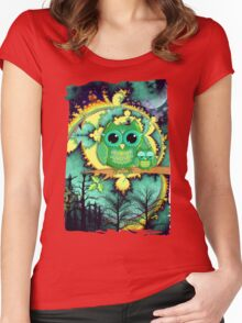 Owls in a magical blue moon night Women's Fitted Scoop T-Shirt
