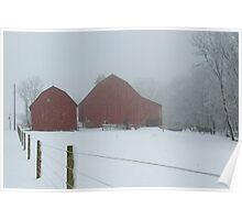 Blizzard Obscured Red Barns Poster