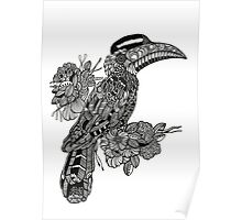 Decorative Hornbill black and white doodle art Poster