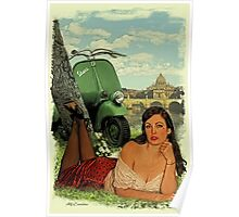 Vespa Pin Up Girl Poster