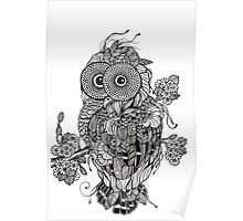 Decorative Owl black and white doodle art Poster
