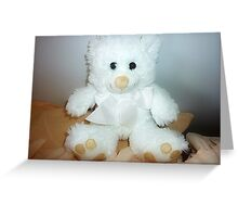 Christmas gift -  Lovely WhiteTeddy in A Basket Greeting Card