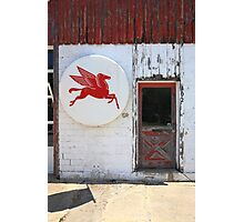 Route 66 - Rusty Mobil Station and Pegasus Photographic Print