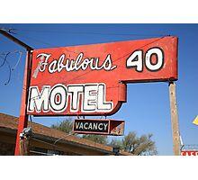Route 66 - Fabulous 40 Motel Photographic Print