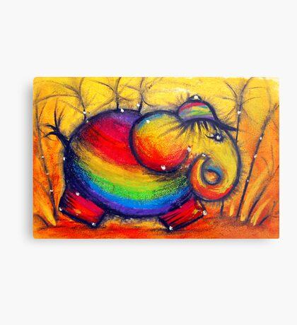 Rainbow Elephant Metal Print
