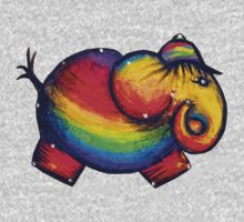 Rainbow Elephant Tshirt One Piece - Short Sleeve