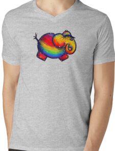 Rainbow Elephant Tshirt Mens V-Neck T-Shirt