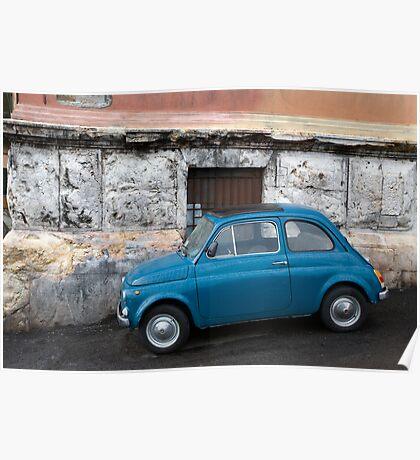 Blue Fiat 500 Poster
