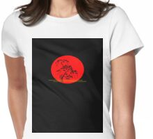 Bonsai on Red Womens Fitted T-Shirt