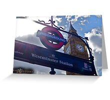 "London, England: ""Westminster Underground"" Greeting Card"