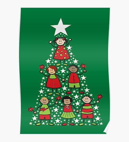 Christmas Tree Kids and Sparkling Stars Poster