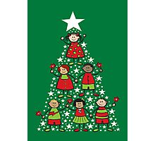 Christmas Tree Kids and Sparkling Stars Photographic Print