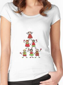 Christmas Tree Kids and Sparkling Stars Women's Fitted Scoop T-Shirt