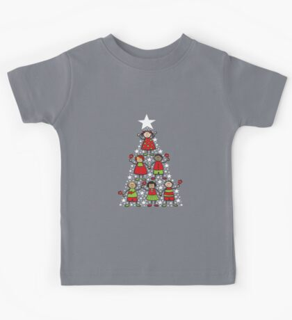 Christmas Tree Kids and Sparkling Stars Kids Tee