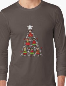 Christmas Tree Kids and Sparkling Stars Long Sleeve T-Shirt