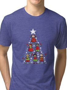 Christmas Tree Kids and Sparkling Stars Tri-blend T-Shirt