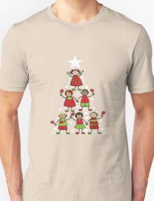 Christmas Tree Kids and Sparkling Stars Unisex T-Shirt