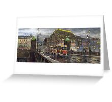Prague Tram Bridge Legii National Theatre Greeting Card