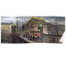 Prague Tram Bridge Legii National Theatre Poster