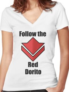 Commander's Compendium - Red Women's Fitted V-Neck T-Shirt