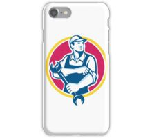 Mechanic Holding Spanner Rolling Sleeve Retro iPhone Case/Skin
