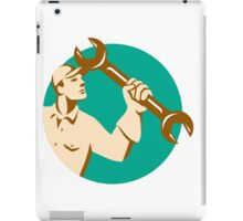 Mechanic Wielding Spanner Wrench Circle Retro iPad Case/Skin