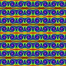 Blue yellow circle pattern by donnagrayson